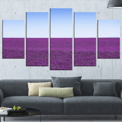 Designart Lavender Flowers With Blue Horizon Oversized Landscape Wrapped Wall Art Print - 5 Panels