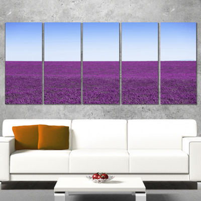 Designart Lavender Flowers With Blue Horizon Oversized Landscape Wall Art Print - 5 Panels