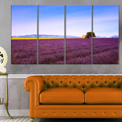 Designart Lavender Flowers With Old House Oversized Landscape Wall Art Print - 4 Panels