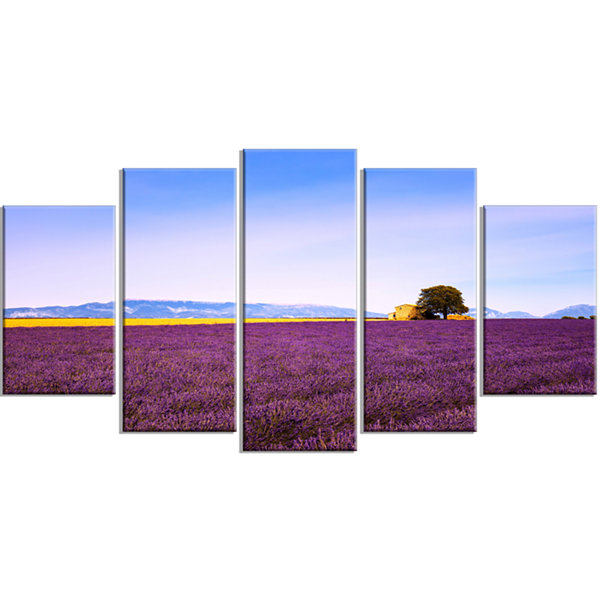 Designart Lavender Flowers With Old House Oversized Landscape Wrapped Wall Art Print - 5 Panels