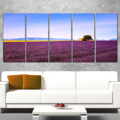 Designart Lavender Flowers With Old House Oversized Landscape Wall Art Print - 5 Panels