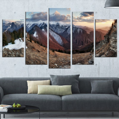 Designart Layers of Foggy Hills Panorama LandscapeArtwork Wrapped Canvas - 5 Panels