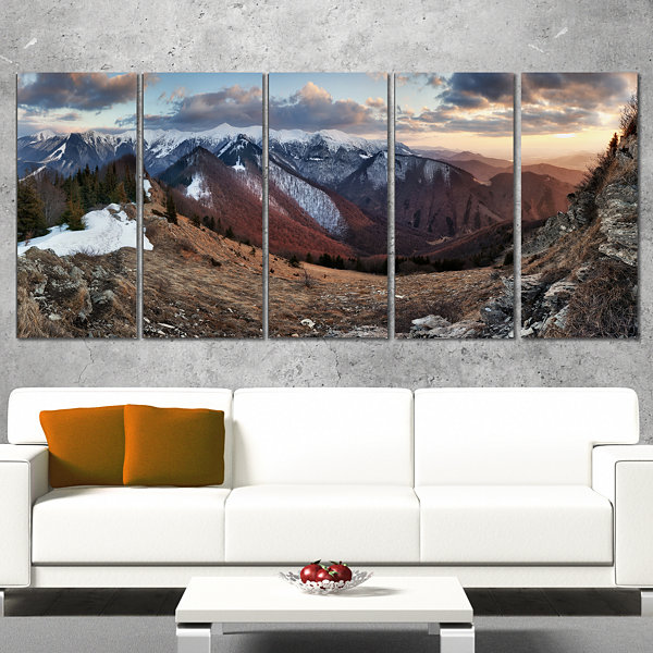 Designart Layers of Foggy Hills Panorama LandscapeArtwork Canvas - 5 Panels