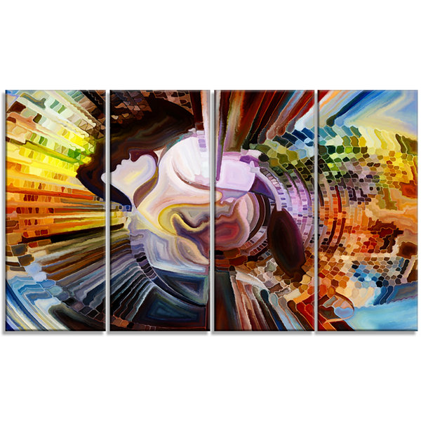 Designart Layers of inner Paint Abstract Canvas Artwork - 4Panels