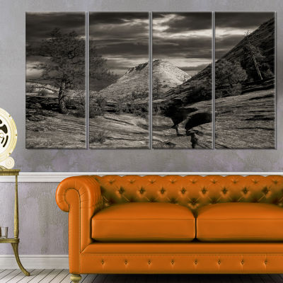 Layers of Red Rock Black and White Landscape Canvas Art Print - 4 Panels