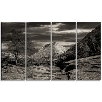 Designart Layers of Red Rock Black and White Landscape Canvas Art Print - 4 Panels