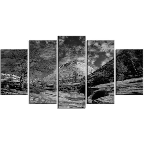 Layers of Red Rock Gray With Clouds Landscape Wrapped Canvas Art Print - 5 Panels