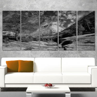 Designart Layers of Red Rock Gray With Clouds Landscape Canvas Art Print - 5 Panels