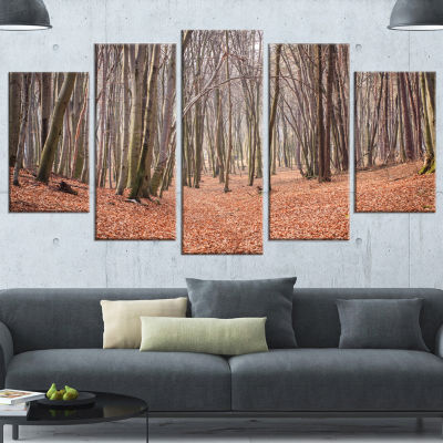Designart Leaves in The Thick Fall Forest Forest Wrapped Canvas Art Print - 5 Panels
