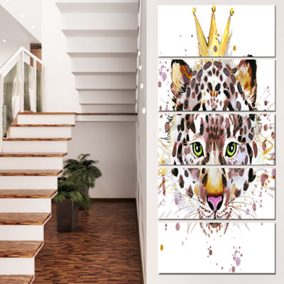 Designart Leopard Head With Golden Crown Contemporary AnimalArt Canvas - 4 Panels
