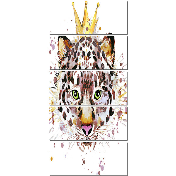 Designart Leopard Head With Golden Crown Contemporary AnimalArt Canvas - 5 Panels