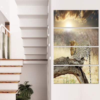 Designart Leopard Relaxing on Tree African CanvasArt Print- 4 Panels