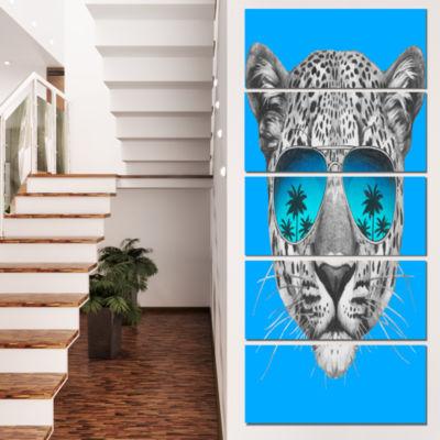 Designart Leopard With Mirror Sunglasses Animal Canvas Art Print - 5 Panels