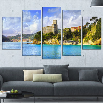 Designart Lerici Village Panorama Large Seascape Canvas ArtPrint - 5 Panels