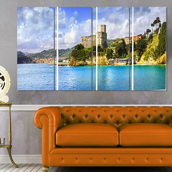 Designart Lerici Village Panorama Seascape CanvasArt Print- 4 Panels