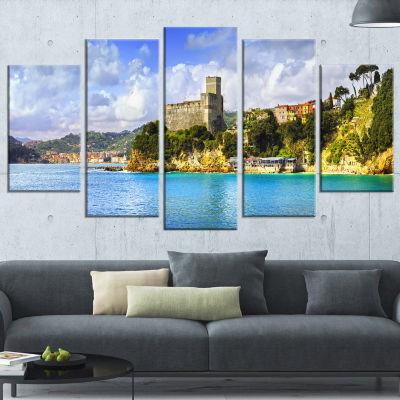 Designart Lerici Village Panorama Seascape CanvasArt Print- 5 Panels