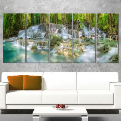 Designart Level 6 of Huaimaekamin Waterfall Landscape Art Print Canvas - 4 Panels