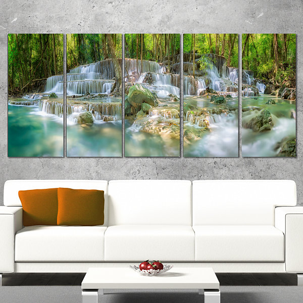 Designart Level 6 of Huaimaekamin Waterfall Landscape Art Print Canvas - 5 Panels