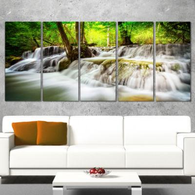 Designart Level Five of Erawan Waterfall LandscapeArt PrintCanvas - 5 Panels