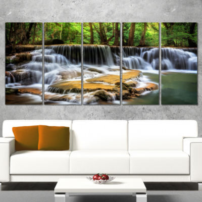 Designart Level Six of Huai Mae Kamin Waterfall Canvas Print- 5 Panels