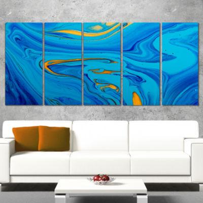 Designart Light Blue Abstract Acrylic Paint Mix Abstract Arton Canvas - 4 Panels