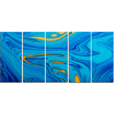 Light Blue Abstract Acrylic Paint Mix Abstract Arton Canvas - 5 Panels