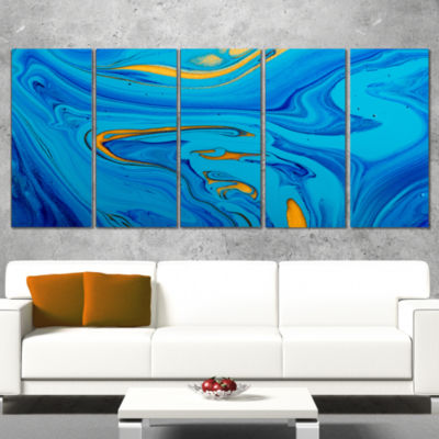 Designart Light Blue Abstract Acrylic Paint Mix Abstract Arton Canvas - 5 Panels