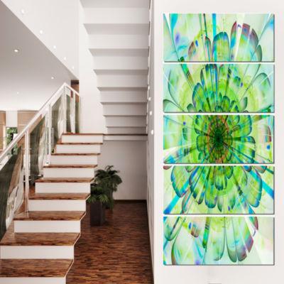 Designart Light Blue Digital Flower Petals Close Up Floral Canvas Art Print - 5 Panels