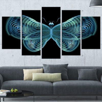 Light Blue Fractal Butterfly in Dark Abstract Canvas Art Print - 5 Panels