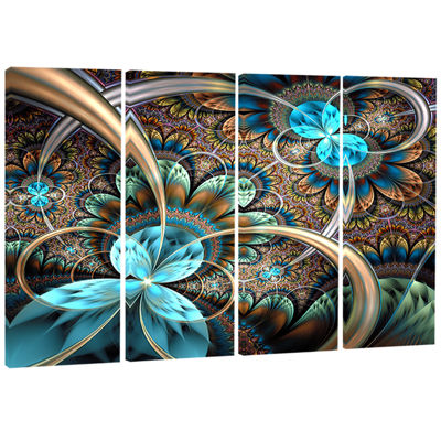 Designart Light Blue Fractal Flower Floral Art Canvas Print- 4 Panels