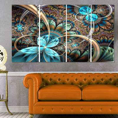 Light Blue Fractal Flower Floral Art Canvas Print- 4 Panels