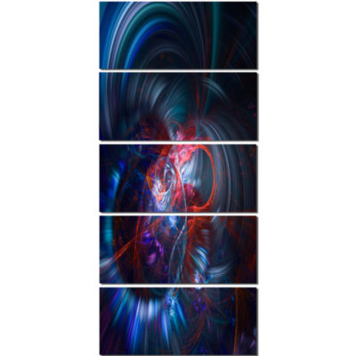 Light Blue Fractal Flower in Dark Floral Canvas Art Print - 4 Panels