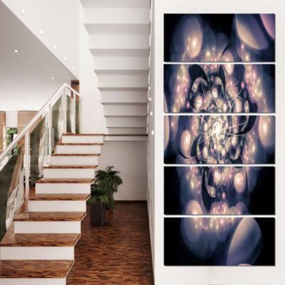 Designart Light Blue Fractal Flower Pattern FloralArt Canvas Print - 4 Panels