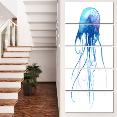 Light Blue Jellyfish Watercolor Animal Canvas ArtPrint - 5 Panels