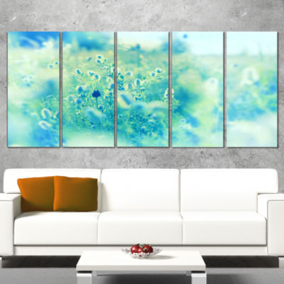 Light Blue Mountain Plain Flowers Floral Canvas Art Print - 4 Panels