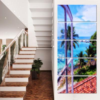Designart Light House Window View Landscape PhotoCanvas ArtPrint - 5 Panels