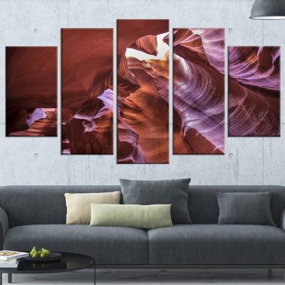 Designart Light in Antelope Canyon Large LandscapePhoto Canvas Art Print - 5 Panels