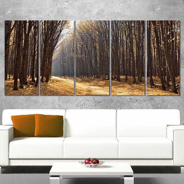 Designart Light in The Forest Path Panorama ForestCanvas Art Print - 5 Panels