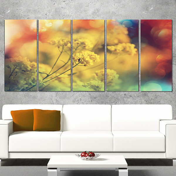 Designart Light Little Yellow Flowers Background Large Flower Wrapped Canvas Art Print - 5 Panels