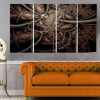 Designart Light Purple Metallic Fabric Pattern Abstract Print on Canvas - 4 Panels