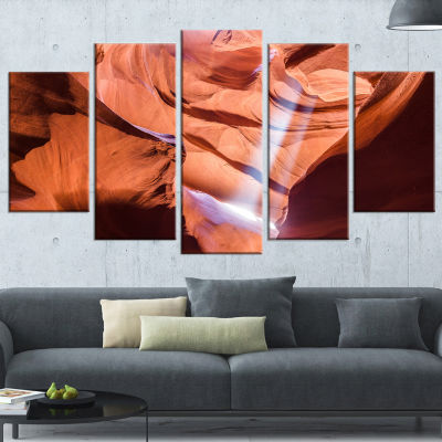 Light To Antelope Canyon Large Landscape Photography Canvas Print - 5 Panels
