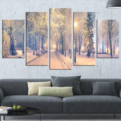 Light Up Mariinsky Garden View Landscape Photography Canvas Print - 4 Panels