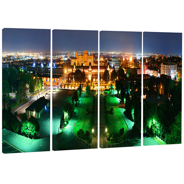 Designart Lighted Montreal City At Night CityscapePhoto Canvas Print - 4 Panels