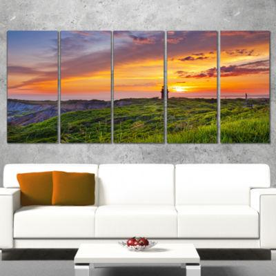 Designart Lighthouse At Gorgeous Sunset Extra Large WrappedWall Art Landscape - 5 Panels