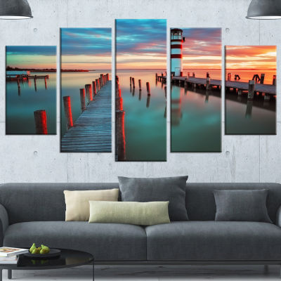 Designart Lighthouse At Lake in Neusiedl Am See Large Landscape Canvas Art - 4 Panels