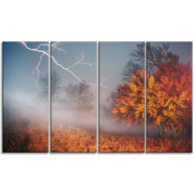 Lighting in Yellow Autumn Forest Landscape Photography Canvas Print - 4 Panels