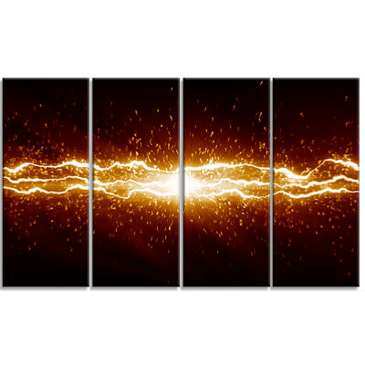 Designart Lightning on Dark Sky Contemporary Canvas Art Print - 4 Panels