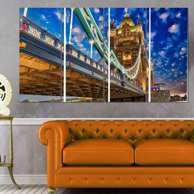 Lights on Tower Bridge Cityscape Photography Canvas Print - 4 Panels