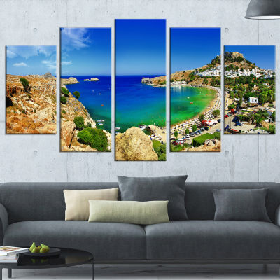 Designart Lindos Bay Greece Panorama Landscape Photography Canvas Print - 4 Panels