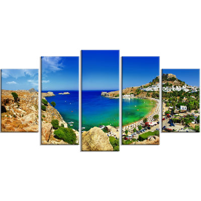 Designart Lindos Bay Greece Panorama Landscape Photography Canvas Print - 5 Panels